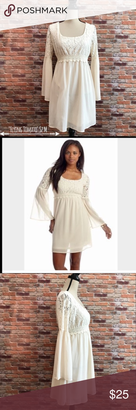 8fa8de758 Babydoll cream lace dress This boho chic flying tomato size medium dress is  perfect for a wedding