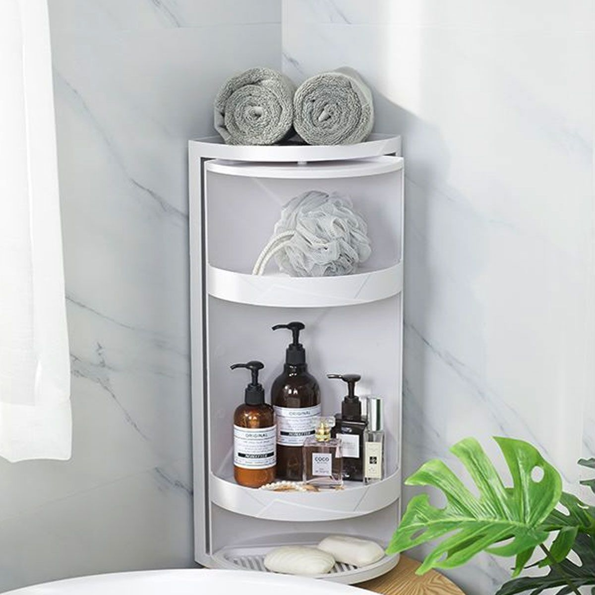 3 tier bathroom corner shelf rack