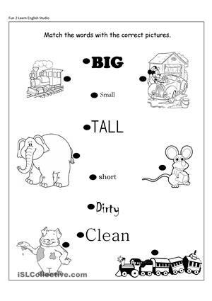 Risultati immagini per opposites free printable worksheets