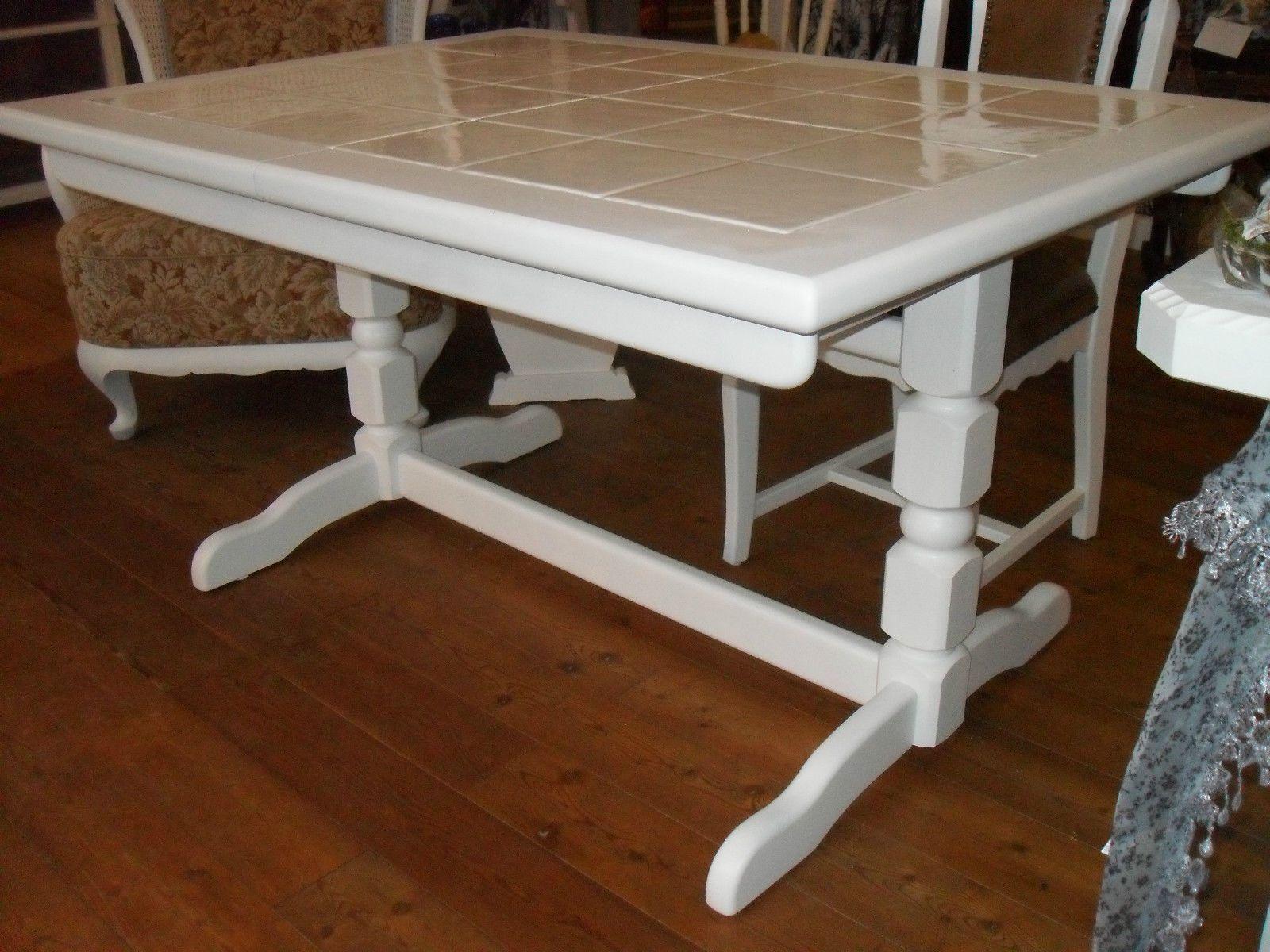 Tisch esstisch fliesen massiv wei grau shabby ebay for Esstisch fliesen