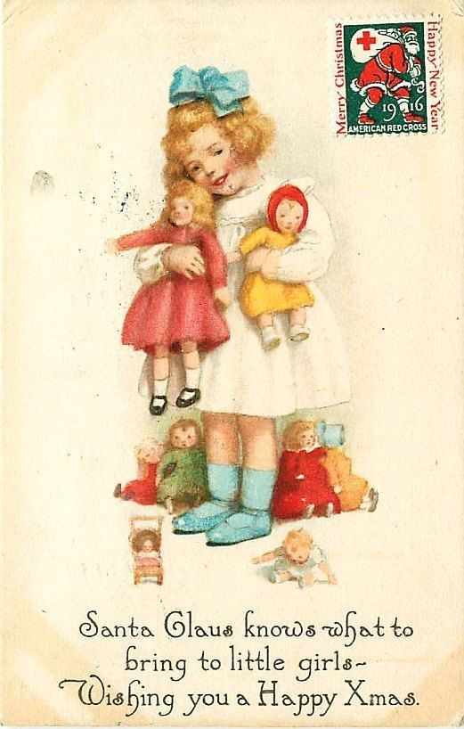 Christmas 1916 Girl With Eight Dolls Collectible Antique Vintage Postcard #Christmas