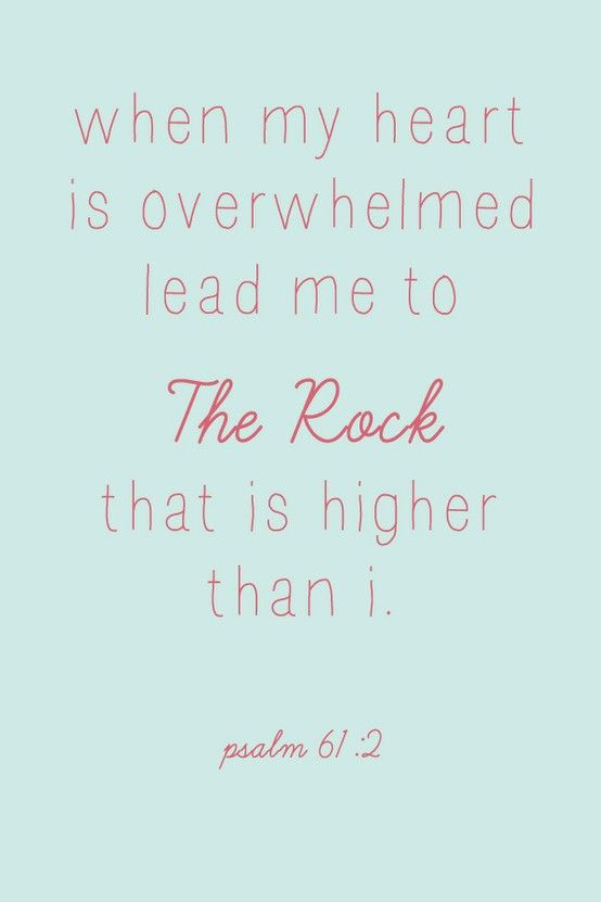 Psalms 61:2- I am gonna need this over the next year...