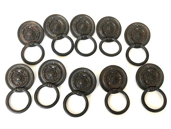 Vintage Bronze Drawer Pull Rings Salvaged Antique Hardware Cabinet Pulls For Furniture Replacement Lot Of 10