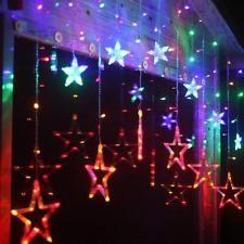 563c4f38453 Encantador Cortina 3M 12 estrellas 138 LED Exterior Cadena de Luz Boda  Fiesta Navidad