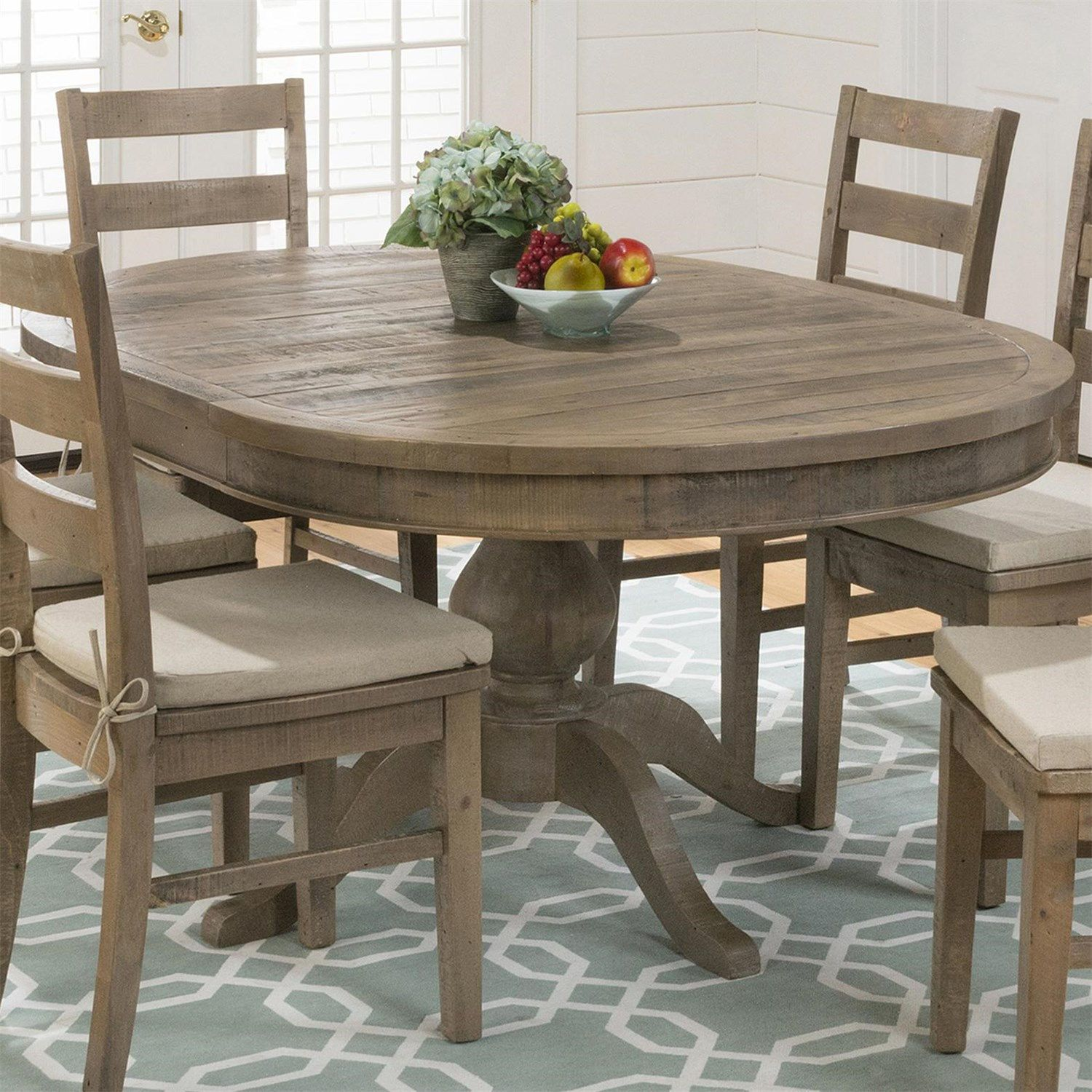Jofran 941 66 slater mill pine reclaimed pine round to oval dining table