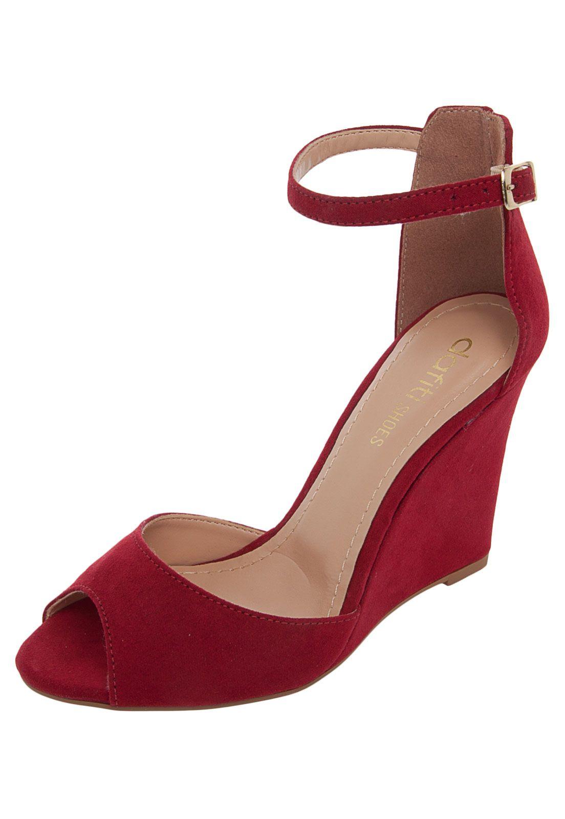 972ed8a4e Sandália Anabela DAFITI SHOES Vermelha | ZAPATOS | Sapatos, Anabela ...