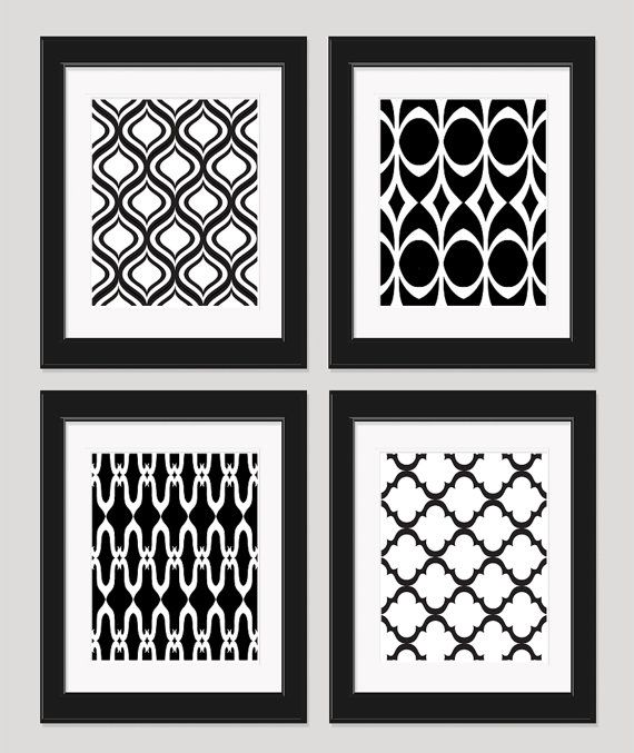 Black white art geometric art prints modern art set of 4 8x10