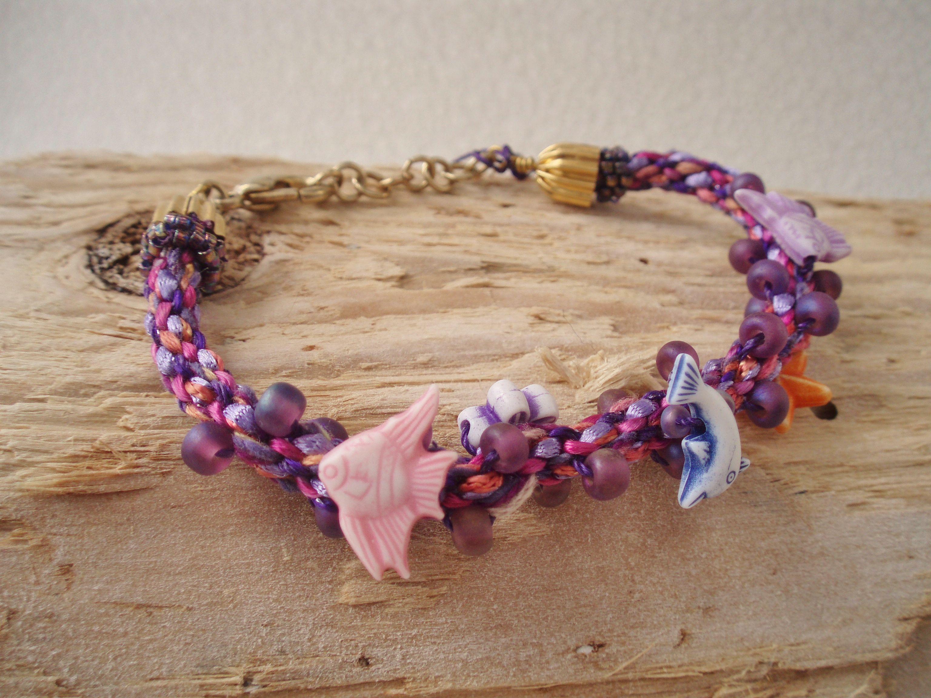 Marine fun bracelet japanese kumihimo round braid adorned with
