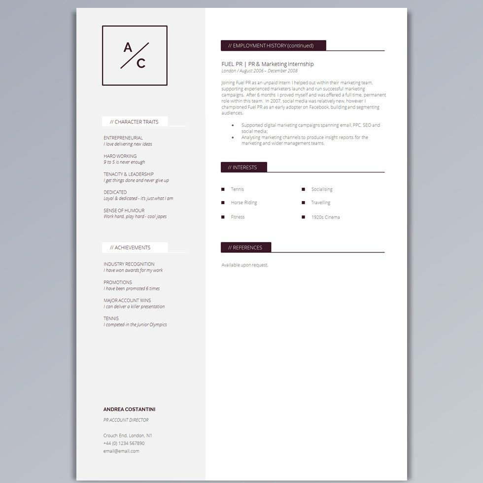 Professional Resume Template   CV Template + Cover Letter + ...