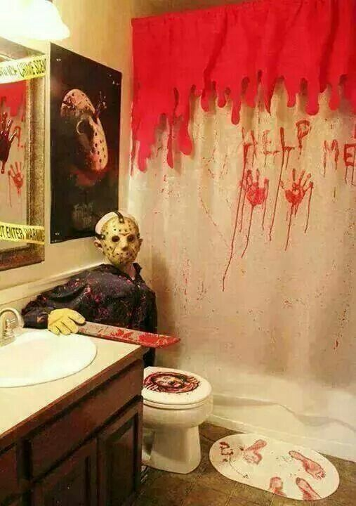Friday the 13th bathroom decor halloween Pinterest Halloween