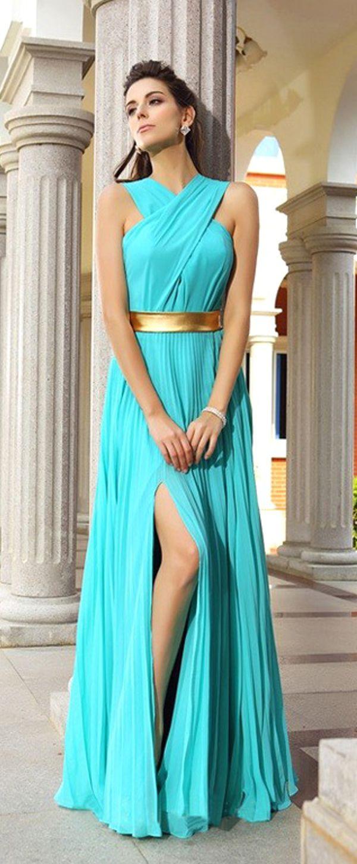 Marvelous chiffon halter neckline floorlength sheath prom dresses