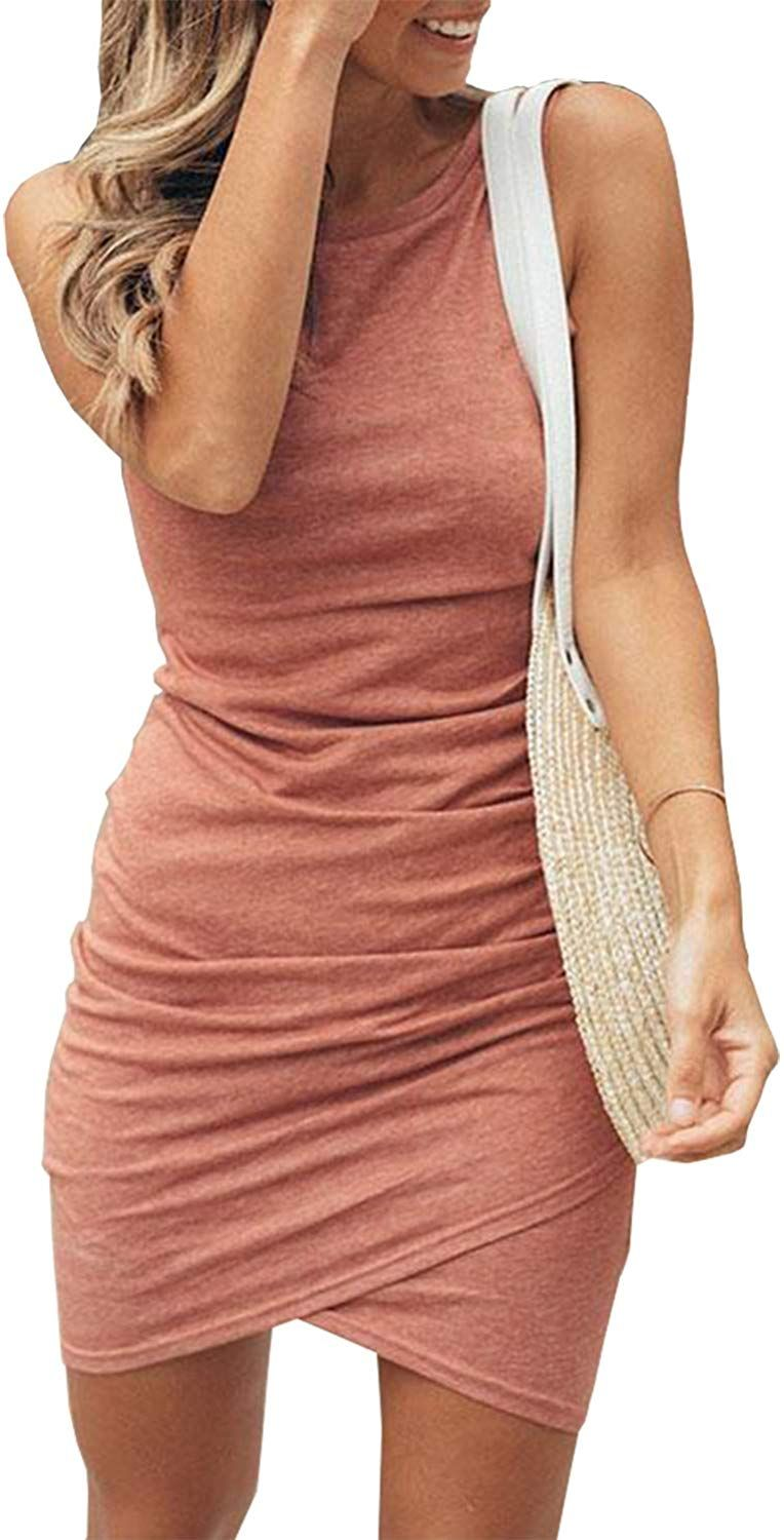 Dresses Summer Classy Women S 2020 Casual Crew Neck Ruched Stretchy Bodycon T Shirt Short Mini Short Mini Dress Casual Summer Dresses Summer Dresses For Women [ 1500 x 764 Pixel ]