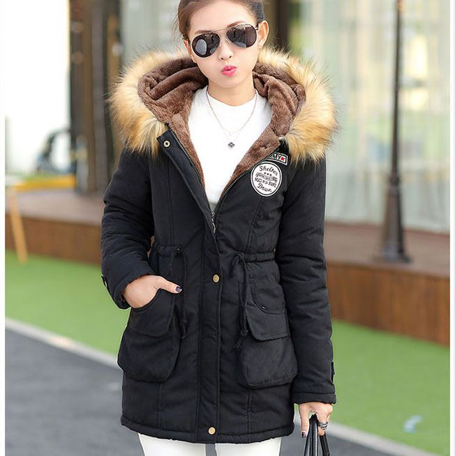 Winter New Women's Hooded Cashmere Wool Liner Slim Warm Cotton ...
