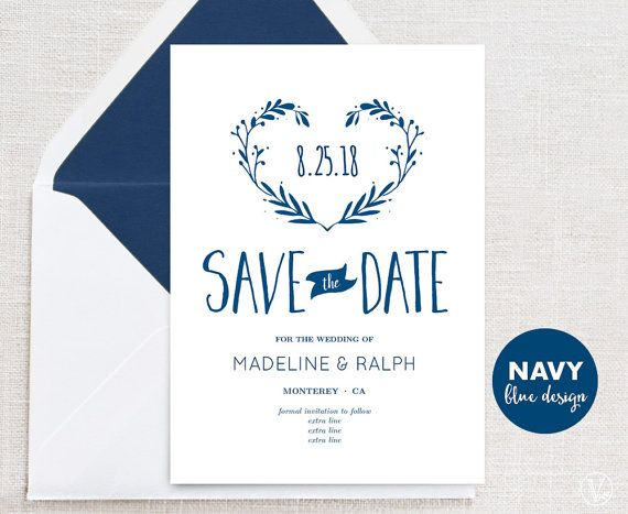 navy blue save the date template printable save the date card