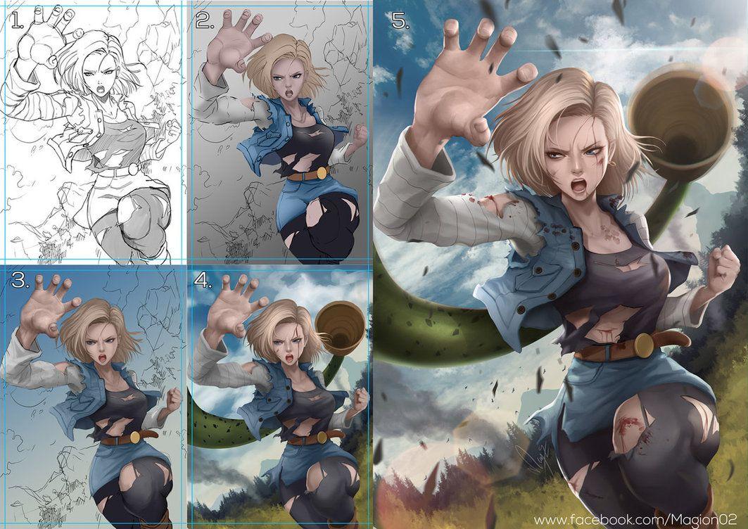 Dragon Ball Android 18 progress by magion02