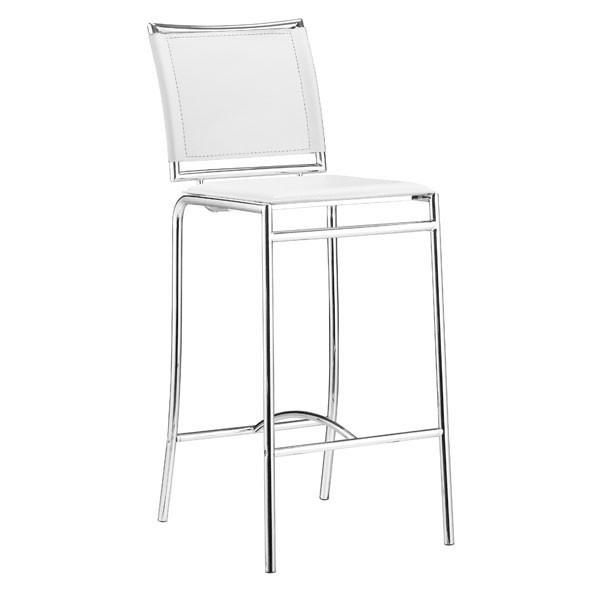 Soar Bar Chair White Chromed Steel (Set of 2) | Modern Bar Chair by Zuo Modern…