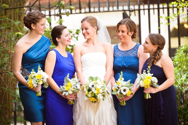 Mismatched blue bridesmaid dresses rachel pearlman photopgraphy