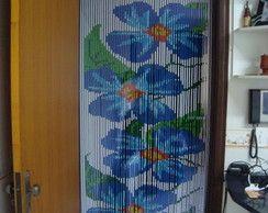 Cortina de Miçangas - Flor Azul