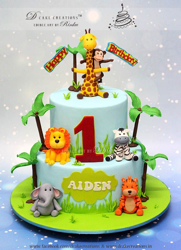 Cute Animal Topper First Birthday Cake 3D Childrens Cake