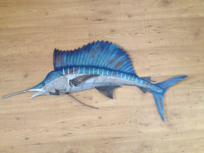 Sailfish metal wall art fish sculpture handmade beach coastal