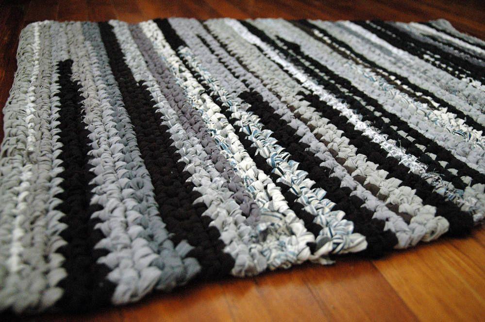 Black Dark Grey Light Grey And White Rectangular Handmade Crocheted Runner Rag Rug Made From Repurposed Sheets By Annwoodal Crochet Rag Rug Rag Rug Crochet