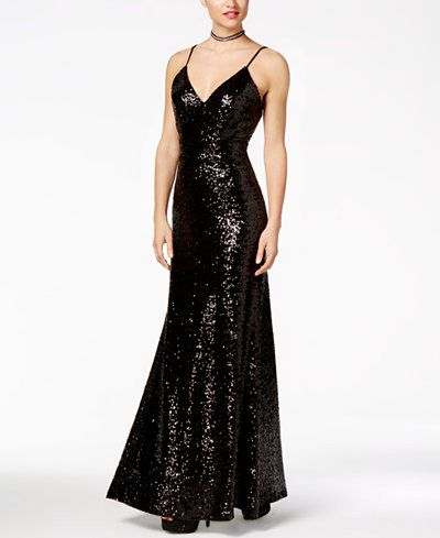 f04d3084124 B Darlin Juniors  Open-Back Sequined V-Neck Gown
