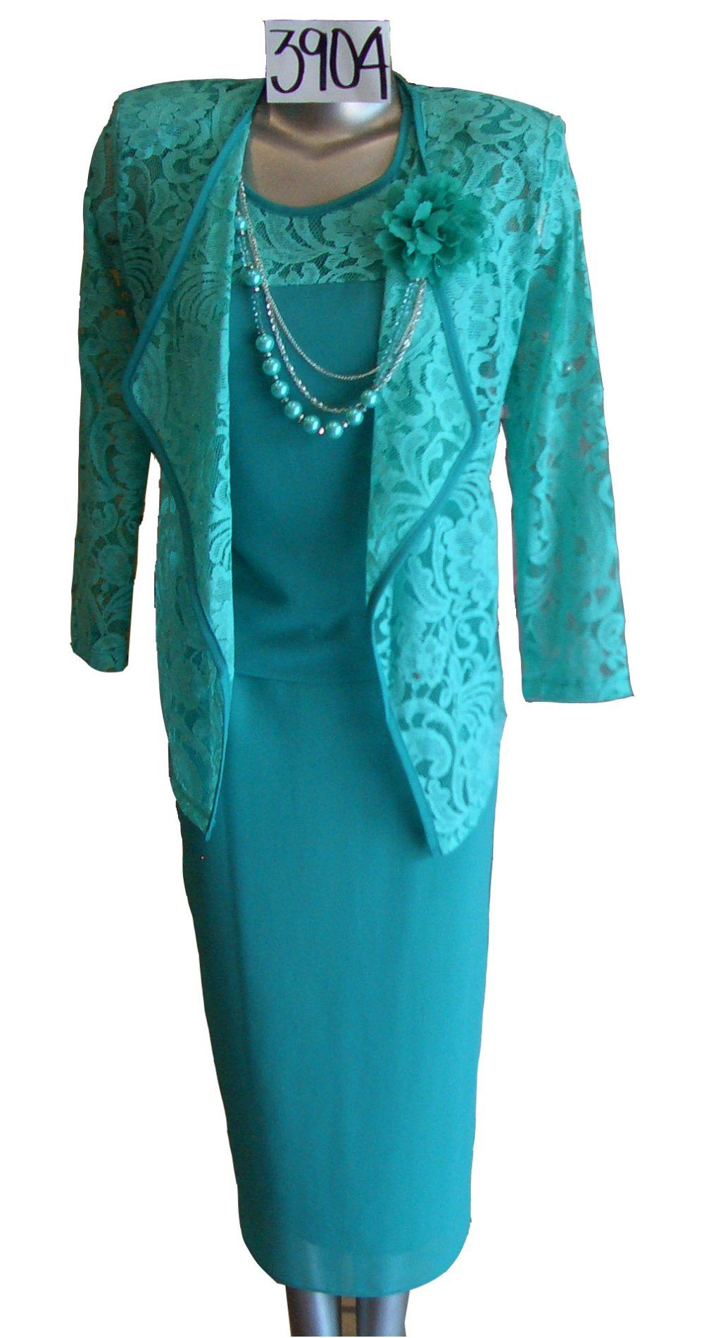 3 Piece Set Dress Jade Green Semi Formal Tea Length With Jacket ...