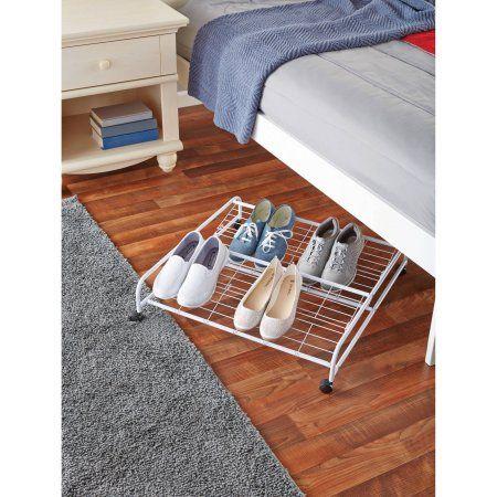 Mainstays 2 Tier Underbed Shoe Rack Walmart Com Shoe Rack Diy Shoe Rack Space Saving Shoe Rack