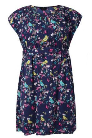 Yoursclothing Womens Plus Size Bird Print Lattice Detail Sleeveless Dress