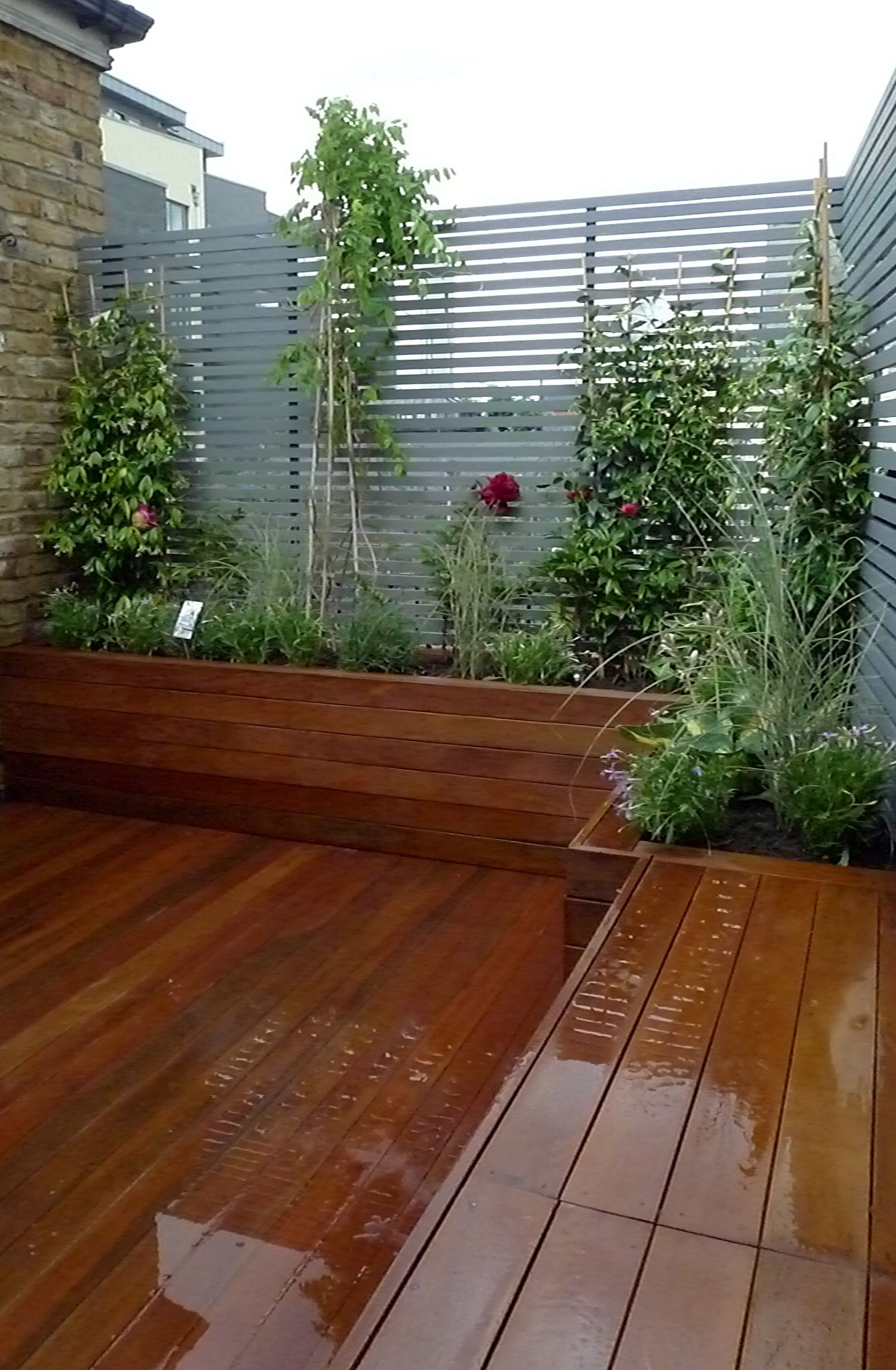 Floating bench plants Chelsea London Fulham small garden design ...