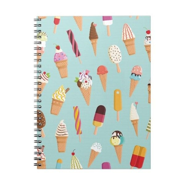 Ice cream pastels notebook (41 BRL) ❤ liked on Polyvore featuring home, home decor and stationery