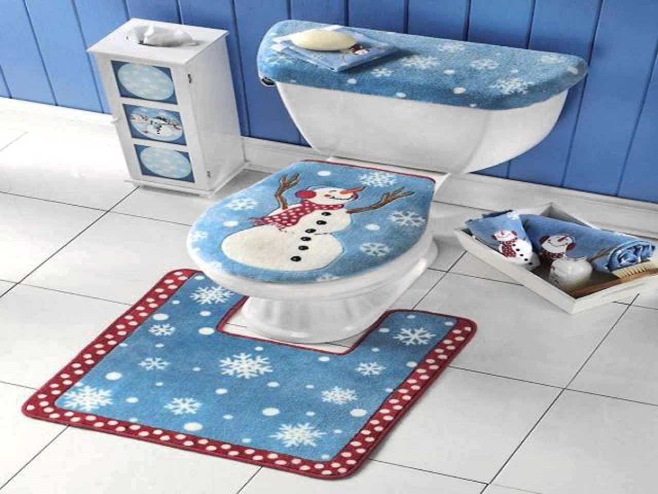 Bathroom Rugs And Toilet Seat Covers Ideas Pinterest Bathroom - Christmas bathroom decor sets