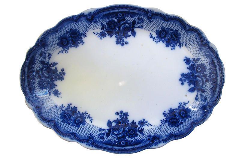 Large Flow Blue Lace Border Platter - Rose Victoria