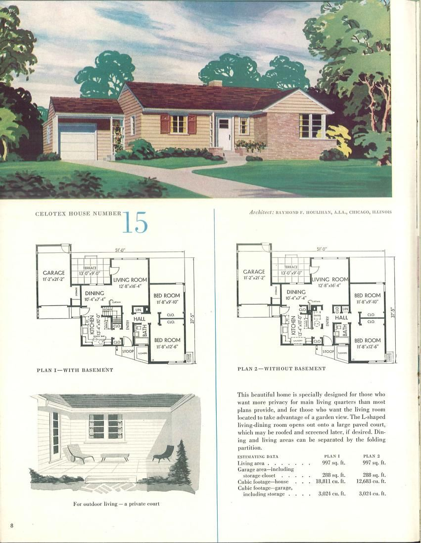 1952 The Celotex book of home plans | VinTagE HOUSE PlanS~1950s ...
