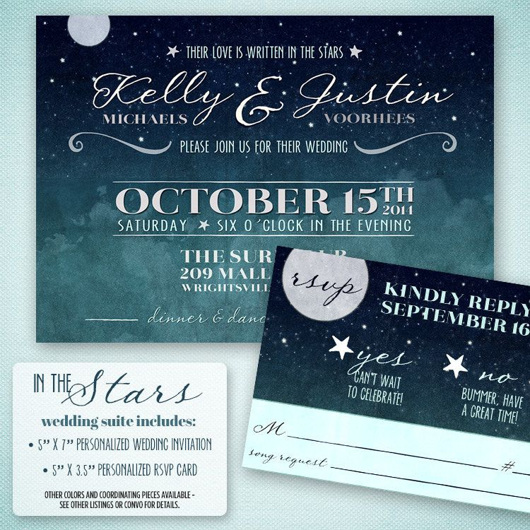 Love Written in the Stars Wedding Invitation by ProjectCottageInk ...