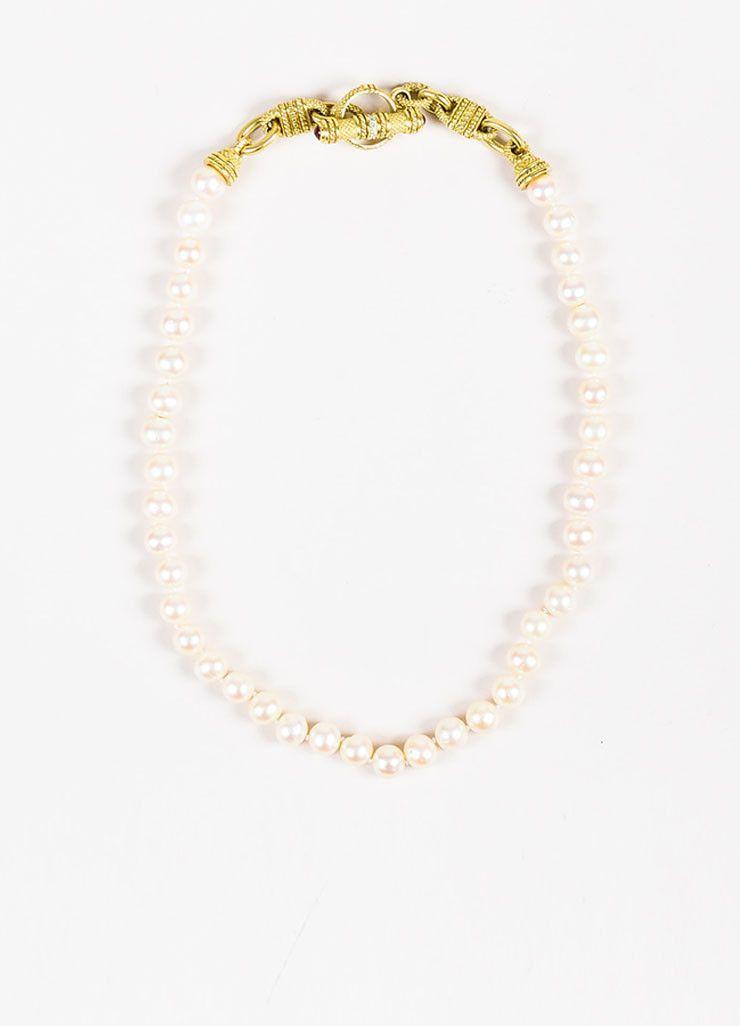 ccd3ab5e780db Judith Ripka 18K Yellow Gold Pearl Ruby & Diamond Single Strand ...