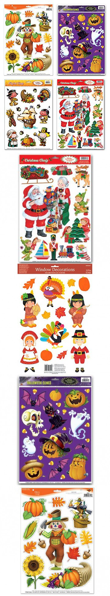 Fall/Winter Holiday Static Cling Window Decorations - 4 Large Sheet - halloween window clings