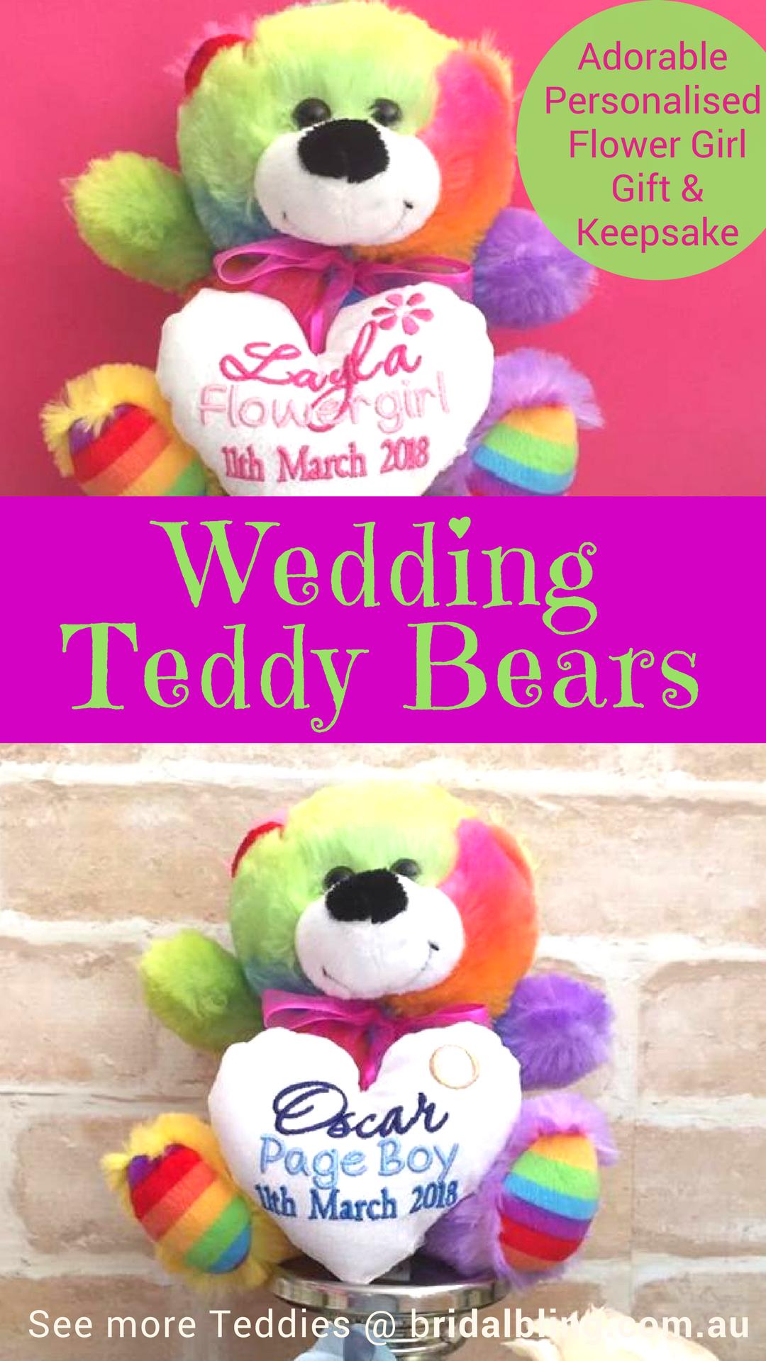 Personalised Teddy Pageboy Bridesmaid Flower Girl Wedding Rainbow Large Bear