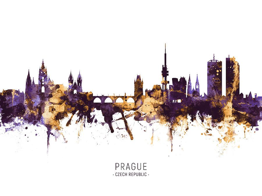 Digital Art - Prague Czech Republic Skyline by Michael Tompsett #affiliate , #sponsored, #AFFILIATE, #Prague, #Art, #Michael, #Czech