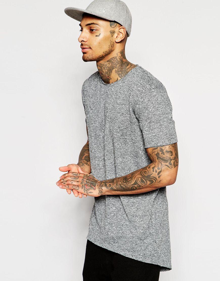 Image 1 of ASOS Super Longline T-Shirt With Scoop Back Hem In Slub Fabric