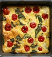 Crustless Tomato and Basil Quiche (dairy-free cheese)