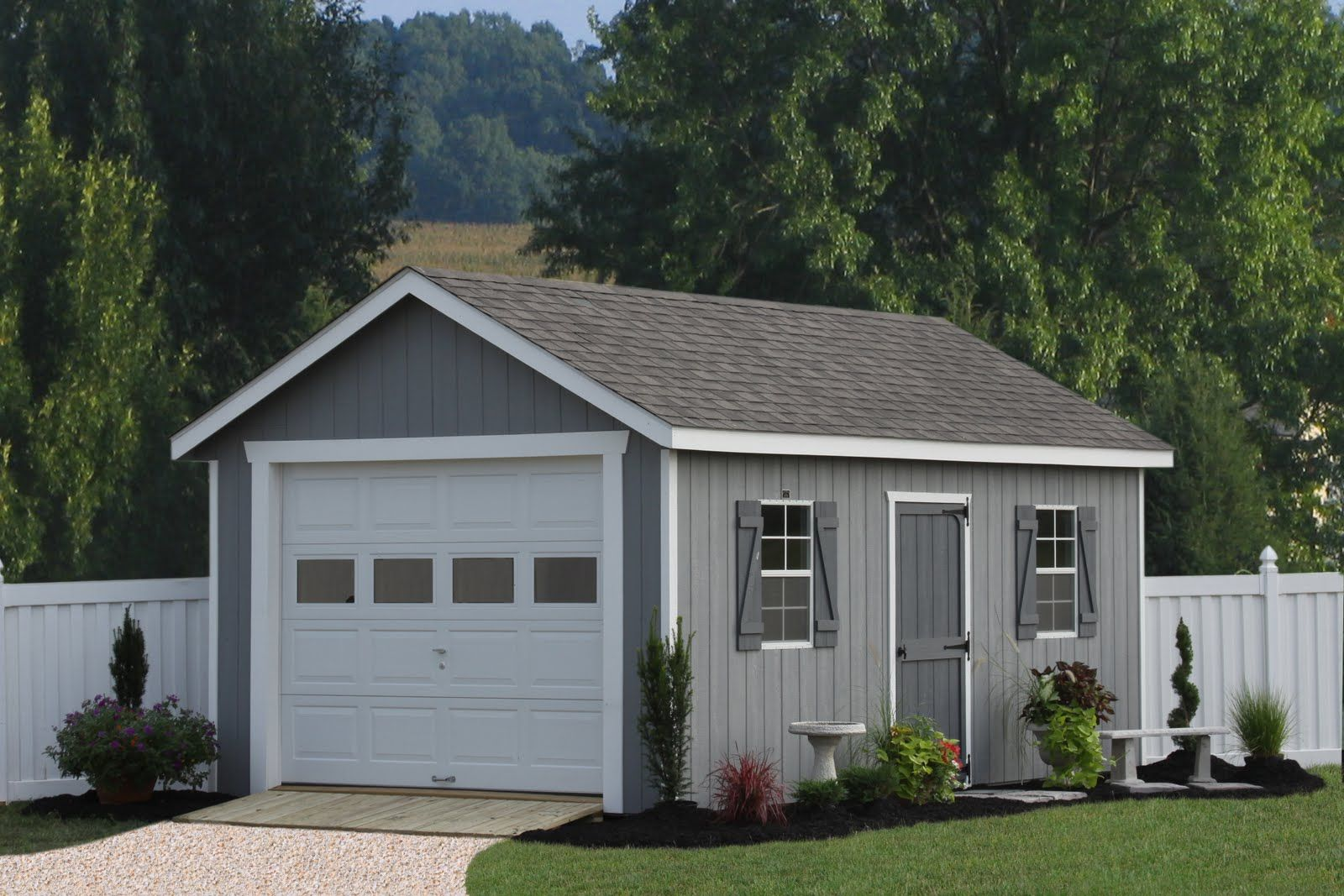 Prefab Garages In Beautiful Architecture Design: Small Grey Color Of Wall  Painting Prefab Garages Design Finished With Green View And Green .