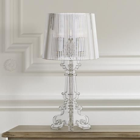 An Elegantly Cut Victorian Inspired Clear Acrylic Base Gorgeously Anchors  This Transitional Table Lamp. Takes One 60 Watt Standard Base Bulb (not  Included).