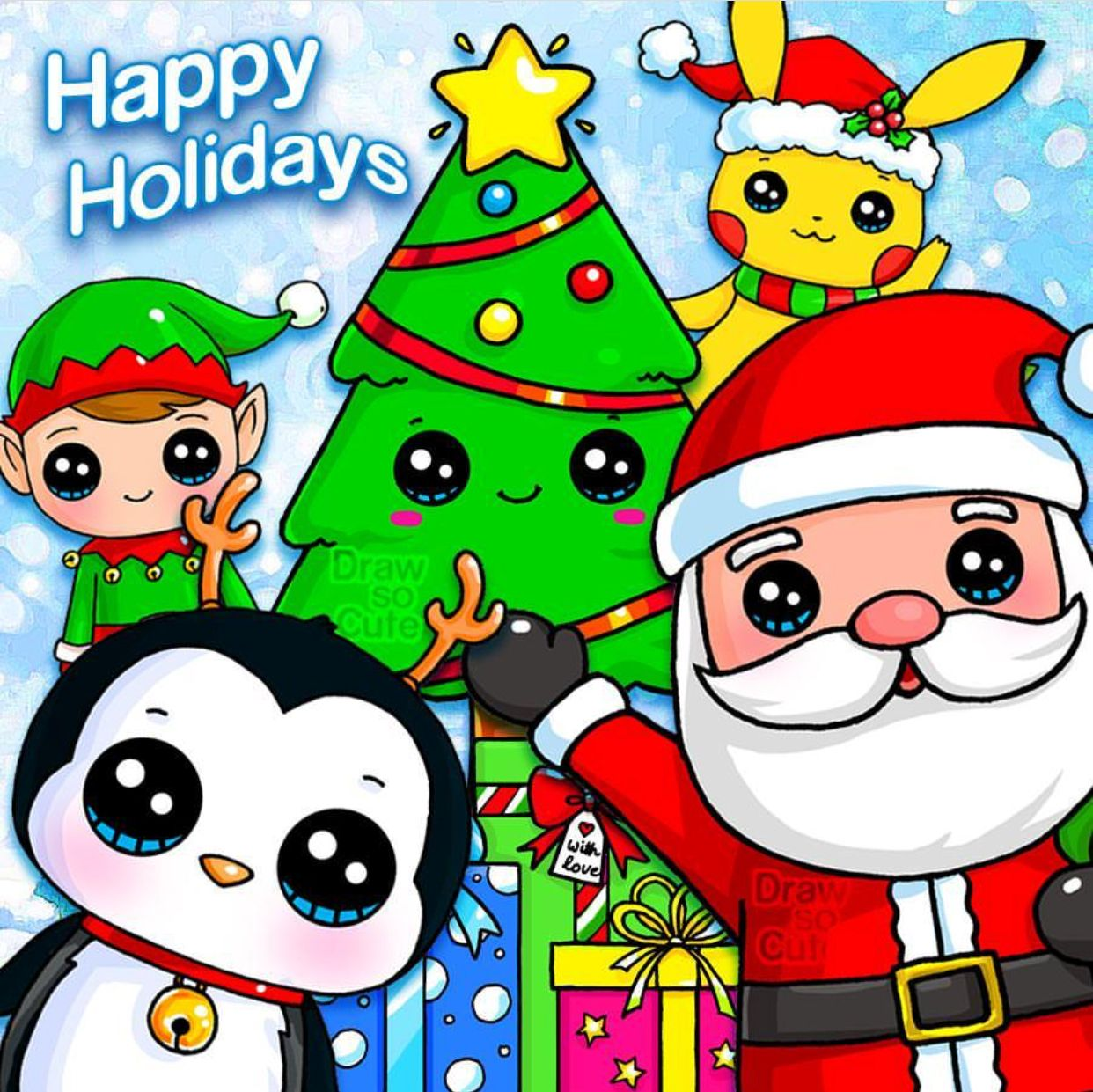 Happy Holidays Draw So Cute Cute Drawings Happy Holidays Kawaii