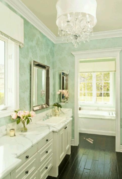 Light Green Bathroom Best Light Mint Green Wallpapered Bathroom  Bathroom  Pinterest . Review