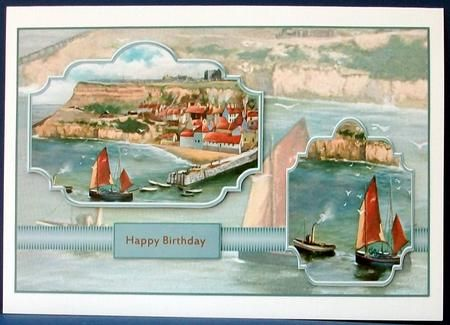 Whitby scene panel card with toppers on Craftsuprint designed by Angela Wake - made by Cheryl French -