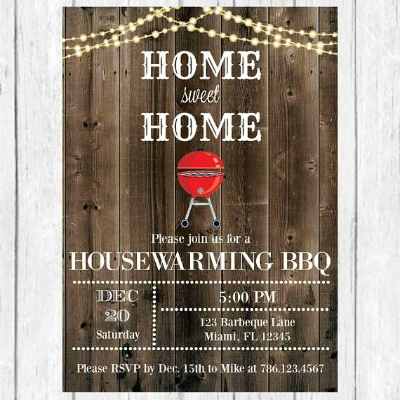 Housewarming BBQ Invitation Invite Barbecue Home Sweet House