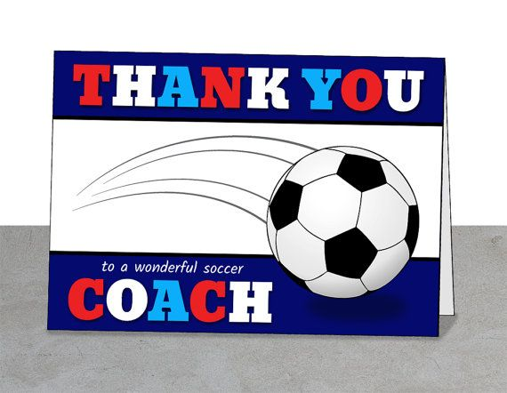 Red White and Blue Team Thank You Coach Card, Soccer, Team Gift