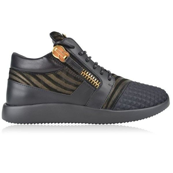 Giuseppe Zanotti Double Zip Trainers ($675) ❤ liked on Polyvore featuring shoes, sneakers, black, lacing sneakers, black leather shoes, giuseppe zanotti sneakers, kohl shoes and leather lace up shoes