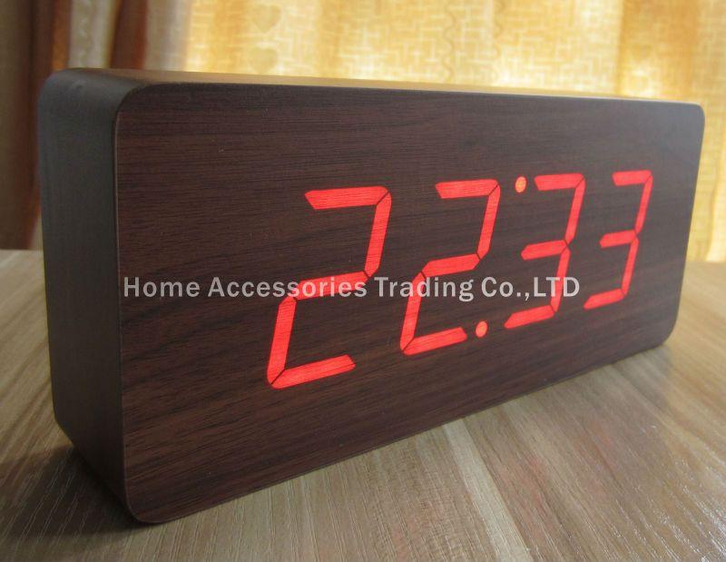 ae62c5c4bfc2 Modern Calendar Thermometer Wood Wooden LED Digital Voice Alarm Clock